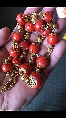 Amazing Great Old Antique Tibetan Noble Pure Coral Necklace 136 Grams.