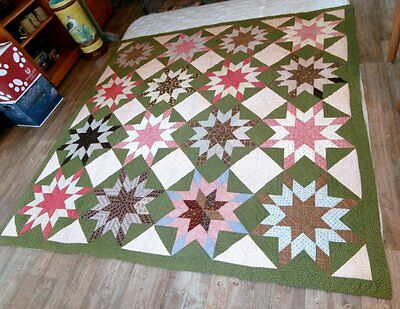 Beautiful Antique 19C PENNSYLVANIA STAR Quilt EXC Condition Estate Find NR