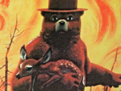 SMOKEY THE BEAR -- Saving Deer From FOREST FIRE -- Embossed Metal Sign  ---- WOW
