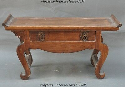 """21"""" Old China Huanghuali Wood pure Hand-Carved Drawers Tea table Side table desk"""