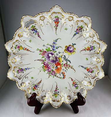 Franziska Hirsch Dresden Gold & Floral Ruffled Serving Bowl Antique Porcelain