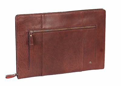 REAL Brown LEATHER A4 Document Folio Case Cover Tablet File Wallet Sleeve Bag