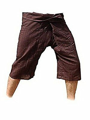 Thai Fisherman Pants Yoga Trousers Free Size 3/4 Cotton Stripe-Brown
