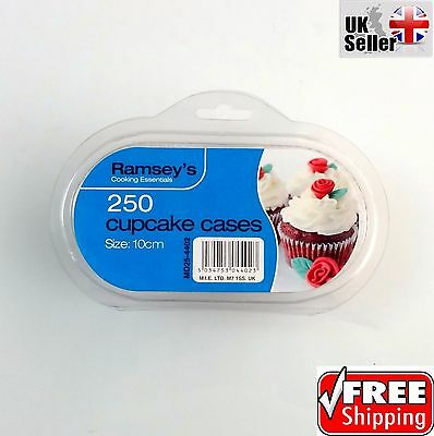 250 Medium High Quality Plain Cupcake Cases Fairy Party Cake Muffin Baking Paper