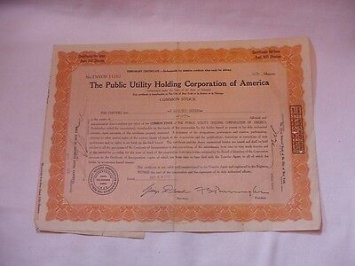 PUBLIC UTILITY HOLDING CO OF AMERICA 50 Shares, Stock Certificate, 1929, #11262