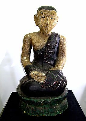 Large Antique Thai Carved Wood Buddhist Monk Sculpture