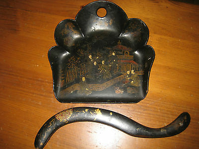 Antique Chinoiserie Crumb Tray And Brush Papier Mache Black Lacquer