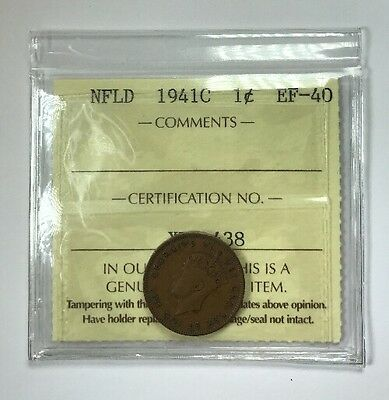 1941C Newfoundland One Cent Coin ICCS Graded EF-40
