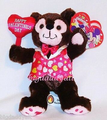 New Disney World Parks Valentine's Day Mickey Mouse Brown Bear Plush Pre Duffy