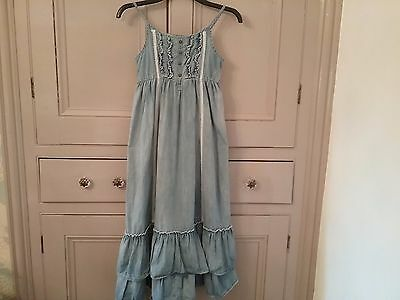 Girls Long Summer  Next Dress Age 11, Blue, In Good Used Condition