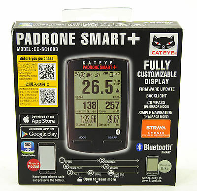 CatEye Padrone Smart Plus CC-SC100B Cycling Computer, Black