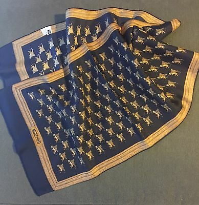 MOSCHINO scarf , Blue And Gold  100% silk