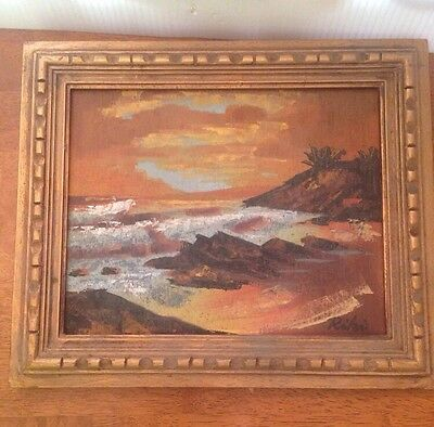 Vintage Old Art Painting On Wood Gold Wood Frame Signed RIKI