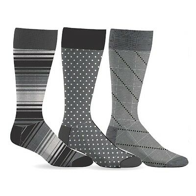 Men's Patterned Fashion Dress Socks 3 pack, Black, White and Gray Patterns