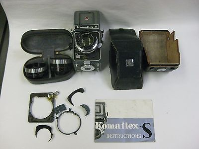 Komaflex -S camera with case lenses instruction manual parts or repair as is