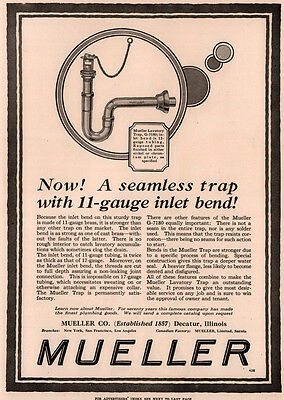 1927 Ad Mueller Co Decatur Plumbing Trap Lavatory Inlet Bend G 7180