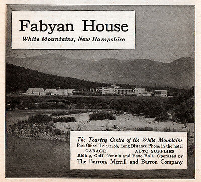 1919 Ad  Fabyan House White Mountains New Hampshire