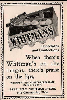 Ad Lot Of 7 Early Whitman Chocolate Sample Gift Box Ads