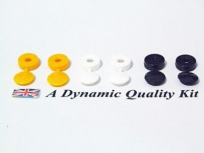 6 x Car Reg Number Plate Screw Cap Hinged Covers 2 x White Yellow Black