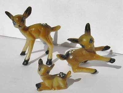 "Set of 3 Miniature Hard Plastic Deer Fawn Hong Kong Christmas Crafts 1.5"" Tall"