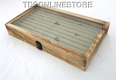 Rustic Oak Glass Top Ring Storage Case With 8 Row Burlap Insert