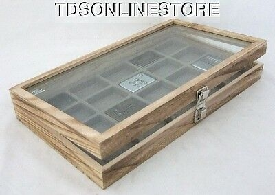 Rustic Brown Color Glass Top Display Case Holds 20 Lighters Gray