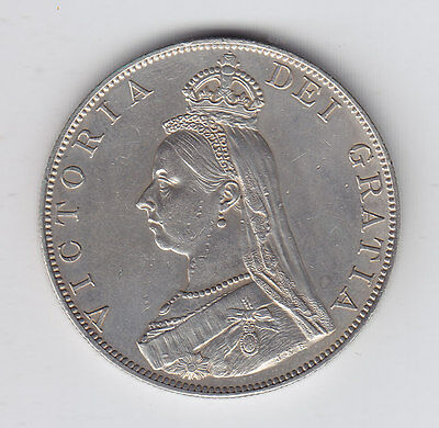 GREAT BRITAIN Double Florin 1887 SILVER KM# 763 - XF or Better