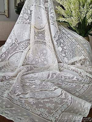 Stunning Antique c1900 White French Normandy Lace Tablecloth 39x38