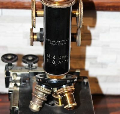 Bausch & Lomb Circa 1915 Medical Dept US Army Microscope In Original wooden