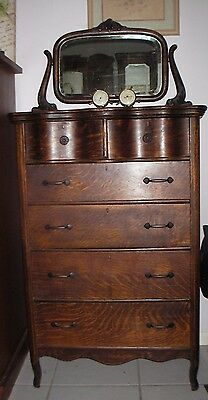 1850 Antique Tiger Oak Highboy Dresser/mirror.excellent condition..6 drawer..