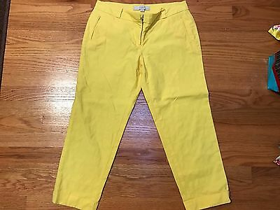 Ann Taylor Loft Marisa Fit Straight Crop Cotton Pants Yellow sz 4P