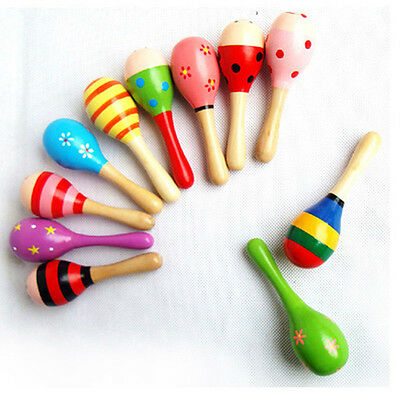 Cute Sand Hammer Rattle Musical Instrument Percussion Wooden Ball Toy For Kids
