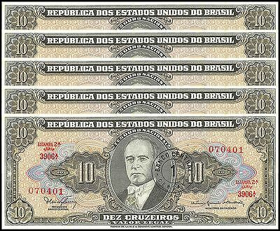 Brazil 1 Centavo on 10 Cruzeiros X 5 Pieces - PCS, 1967, P-183b, Used