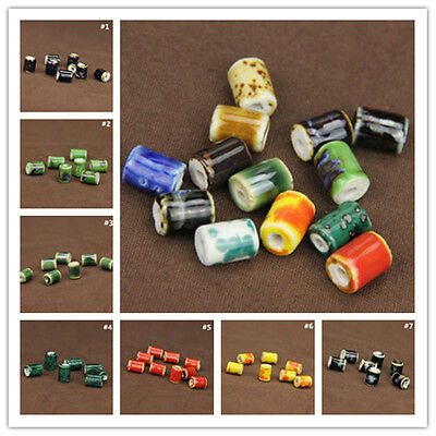10Pcs Cylindrical Charm Pattern Ceramic Porcelain Loose Beads Barrel 10x14mm New