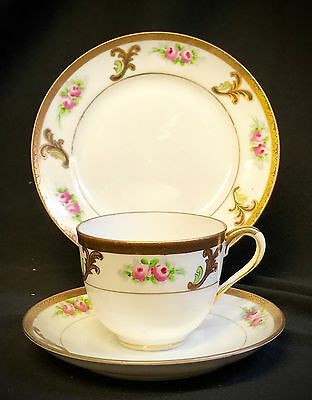 Noritake Gold and pink floral Trio