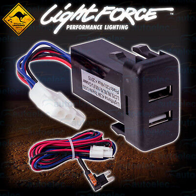 New Lightforce Dual 2.1A Amp Usb Suit Toyota Landcruiser 100 Series 1998 - 2007