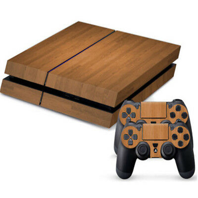 Wood Grain Body Decal Skin Sticker For Playstation 4 PS4 Console+Controllers