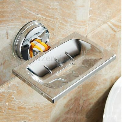 Stainless Steel Suction Bathroom Shower Chrome Accessory Soap Dish Holder Tray