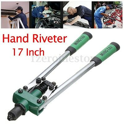 "New 430Mm Heavy Duty 17"" Long Arm Two Handed Hand Rivet Gun Pop Riveter Tool"