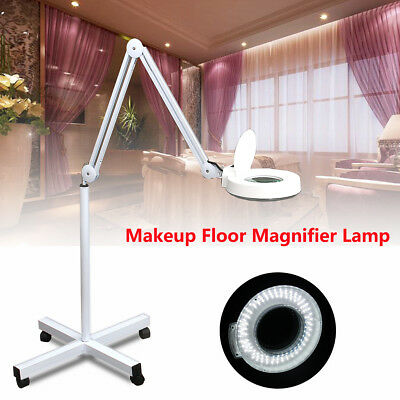 5x Magnifier Lamp Glass Adjustable Rolling Floor Stand Magnifying 110V/60Hz Spa