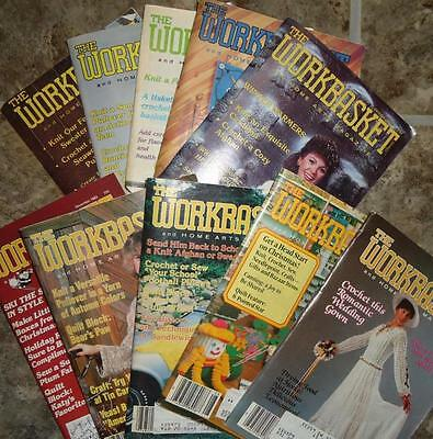 Vtg 1980s 1982 Lot of 10 Workbasket Magazines Crochet Knit Patterns Doily Afghan