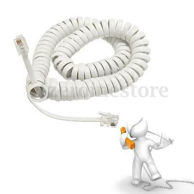 New 10ft Telephone Handset Phone Extension Cord Curly Coil Line Cable Wire White