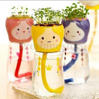 Mini Home Office Decor Emoji Doll Self Watering Planter Flower Pot Straw Seed