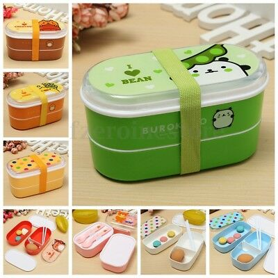 Double Layer Portable Microwave Lunch Bento Box Food Container Storage Spoon