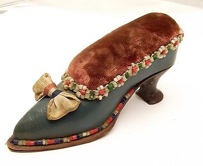 Antique Victorian High Heeled Shoe Pin Cushion Leather Beaded Velvet Handmade