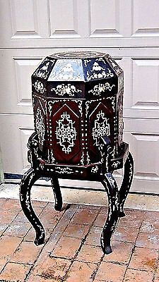 Antique Chinese Octagonal  Wedding Lacquered  Large M.o.p. Inlayed Box On Stand