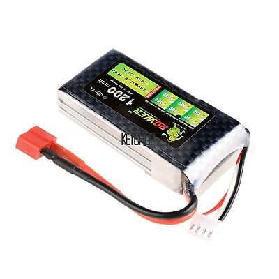Lion Li-Po Battery 11.1V 1200mAh 25C Max 40C T Plug For RC Car Airplane KECP03