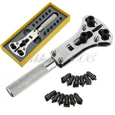 Deluxe Watch Back Case Opener Wrench Screw Remover Tool Kit Set + Storage Case