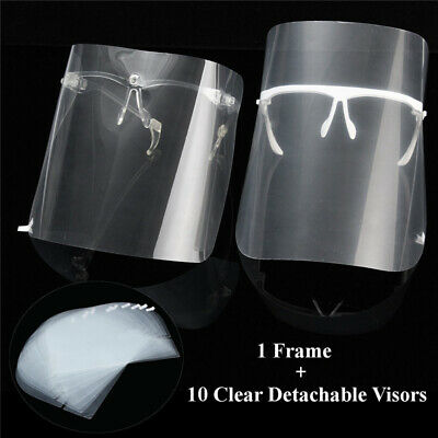 Dental Adjustable Detachable Full Face Shield w/ 10 Detachable Protective Visors