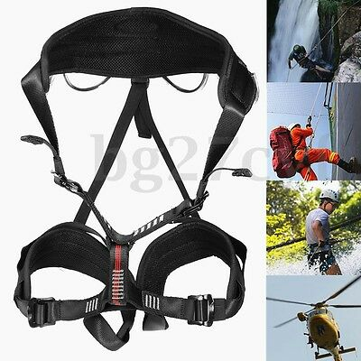Rock Tree Climbing Rappelling Harness Sitting Seat Bust Belt Safety Rescue Tool